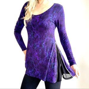 Lysse Purple Blue &Black Snakeskin Side Zipper Top